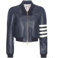 Thom Browne Leather Bomber Jacket ($3,370) ❤ liked on Polyvore featuring outerwear, jackets, blue, thom browne, real leather jackets, bomber style jacket, blue leather jacket and leather jackets