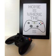"""Home is where the XBOX is cross stitched wall art, 8""""x10"""" ($15) ❤ liked on Polyvore featuring home, home decor, wall art, gray wall art, gray home decor, grey wall art, wall picture and unframed wall art"""