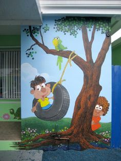 exterior painted murals | Miami Daycare Back Painting by Murals By Pontet - Miami Daycare Back ...