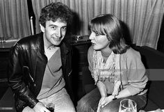 John Deacon of Queen and journalist Annemarie den Daas (of Dutch music magazine Hitkrant) on board a train (De Kameel) from Leiden to Amsterdam, Netherlands, after a gig at Groenoordhal, Leiden, 25th April 1982.