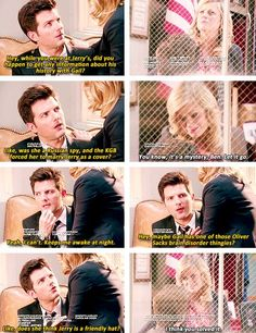 """""""Does she think Jerry is a friendly hat?"""" love the Oliver Sacks reference. Parks And Rec Memes, Parks And Recs, Parks And Recreation, Oliver Sacks Books, Knope 2016, Best Tv Shows, Favorite Tv Shows, Ben Wyatt, Parks Department"""