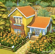The Sims, Sims Cc, Sims 4 House Plans, Sims 4 House Building, Sunflower House, Sims 4 House Design, Sims 4 Build, Yellow Houses, Sims 4 Houses