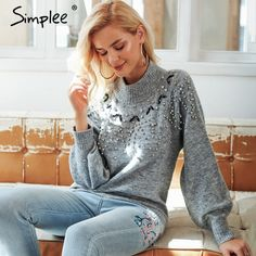 Simplee Turtleneck winter knitted christmas sweater Women lantern sleeve  gray pullover female Sexy fashion autumn casual jumper • DREAM EMARKET 9ee380271