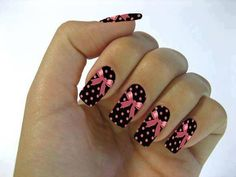 black - pink - polka dots - bows - nail art