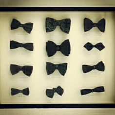 I would sooo put several vintage bow ties in a shadow box and hang it in a beautiful walk in closet or a little boy's room! Black Bow Tie, Pink Wallpaper, Swagg, Shadow Box, Fit, Creations, Classy, Fancy, Mens Fashion