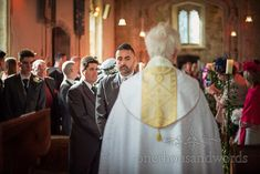Groom awaits the arrival of the bride at Lulworth Estate church wedding #churchwedding #dorsetwedding #groom
