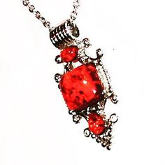 Vintage Red Amber Necklace In Tibetan Style In Tibetan Silver