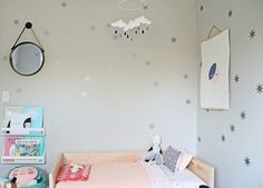 Modern pink & grey little girl's room: http://www.stylemepretty.com/living/2016/01/17/modern-pink-and-grey-girls-room/ | Source: 100 Layer Cakelet - http://www.100layercakelet.com/