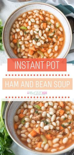 Instant Pot Ham and Bean Soup Instant Pot Ham and Bean Soup is an easy holiday menu! Tender white beans and chunks of ham are swi Ham Bone Soup, Ham Soup, Ham And Bean Soup, White Bean Soup, Real Food Recipes, Healthy Recipes, Real Foods, Cheap Recipes, Healthy Food