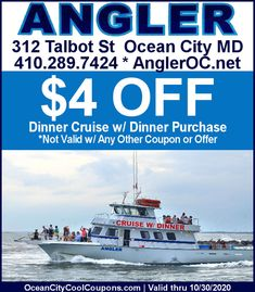 Check out the Angler Dinner Cruise & Save With Your Cool Coupon. Ocean City Md, Deep Sea Fishing, Coupons, Cruise, Dinner, Cool Stuff, Beach, Check, Dining