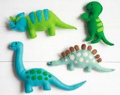 Happy Dinosaur Felt Toys Four handmade di BurntGingerbreadYum