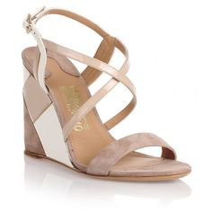 Salvatore Ferragamo Gris Beige Suede Wedge Sandal ($360) ❤ liked on Polyvore featuring shoes, sandals, beige, beige high heel sandals, ankle strap wedge sandals, suede wedge sandals, beige sandals and wedge shoes