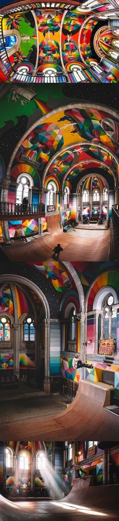 Okuda San Miguel (aka Okudart) has transformed a historic church in Llanera, Spain into a colorful haven for skateboarders