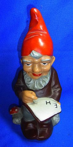 Vintage German Art Pottery Garden Yard Outdoor Gnome / Dwarf Writer #^