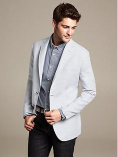 Tailored-Fit Light Grey Linen/Cotton Blazer | Banana Republic
