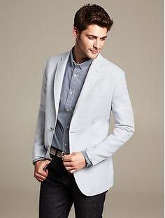 Tailored-Fit Light Grey Linen/Cotton Blazer | Banana Republic