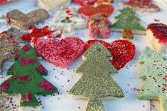 christmas salt dough ornaments with kids. Use acrylic paint and glitter to paint. For the dough: 1 cup of flour, 1 cup of salt, and up to 1 cup of water. Bake in oven at 100C for 2-3 hours. Punch hole on top with straw for ribbons. ***