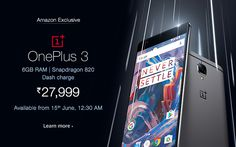 oneplus 3 smartphone launched available on amazon