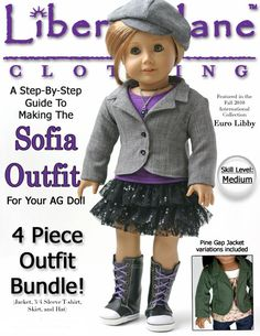 Liberty Jane Sofia Outfit Bundle Doll Clothes Pattern for 18 inch American Girl Dolls - PDF