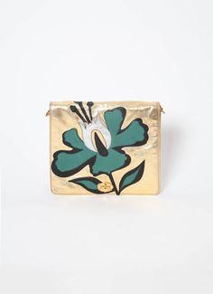 Miu Miu | S/S 2011 Flower-appliqué Leather shoulder bag | RESEE