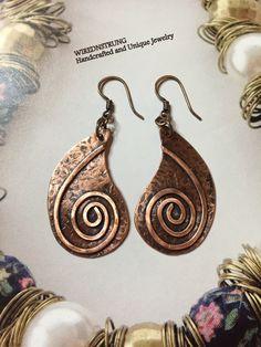 Copper Earrings, Copper Jewelry, Metal Earrings, Textured Earrings, Gift for her, Unique Jewelry, Women's Jewelry, Wire Earrings