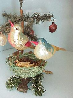 .Glass Birds with Nest -Christmas -Antique-Vintage