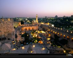 view of Jerusalem from the Tower of David at dusk