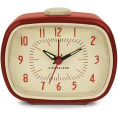 Dot & Bo Retro-Style Alarm Clock in Red ($19) ❤ liked on Polyvore featuring home, home decor, clocks, alarm-clock, hand clock, alarm clock, retro home decor and retro alarm clock