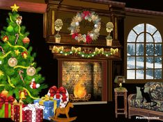 'Twas the Night Before Christmas 2015 Diy Christmas Mantel, Cardboard Christmas Tree, Christmas Tree With Gifts, The Night Before Christmas, Christmas 2015, Christmas Pictures, Christmas Tree Decorations, Holiday Decor, Christmas Morning