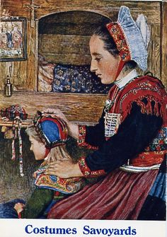 Estella Canziani - child from Montaimont, painted in 1910 European Costumes, French Costume, Rhone, Folk Costume, Beautiful Drawings, Traditional Dresses, Folklore, France, Normandy