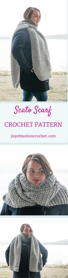 Scato Scarf crochet pattern. Scato scarf crochet pattern design. Easy crochet pattern. Scarf crochet pattern. Crochet pattern for a scarf. Crochet pattern for her. Gift crochet pattern.  via @http://pinterest.com/joyofmotion/
