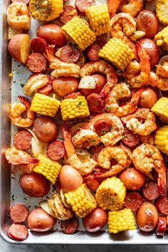 Shrimp Boil Shrimp Boil smothered in garlic butter and Old Bay seasoning made easy in the oven. Ready in 30 minutes! Shrimp boil comes fully loaded with all the goods! Slices of smoked andouille sausage with Shrimp Boil In Oven, Cajun Seafood Boil, Cajun Shrimp Recipes, Seafood Boil Recipes, How To Cook Shrimp, Shrimp Boil Recipe Old Bay, Seafood Dishes, Boiled Shrimp Old Bay, Shrimp Bake