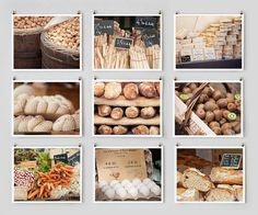 Littlebrownpen sells these nine beautiful pictures of foods in Paris markets for $145.00 on Etsy.  Instant art collection.