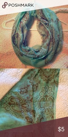 Infinity Scarf Very pretty light teal infinity scarf. Brown details. Accessories Scarves & Wraps