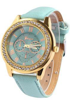 Roman Numeral Rhinestoned Watch GREEN: Watches | ZAFUL