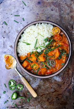 Roasted Sweet Potato Curry with Cauliflower Rice