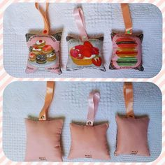 Petits coussins gourmands à suspendre au sapin ou dans la cuisine : Accessoires de maison par vivi-au-square
