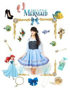 """""""The Little Mermaid - Ariel"""" by meri-dawn ❤ liked on Polyvore featuring Disney, Versace, Herend, Lanvin, Jimmy Choo and Dot & Bo"""