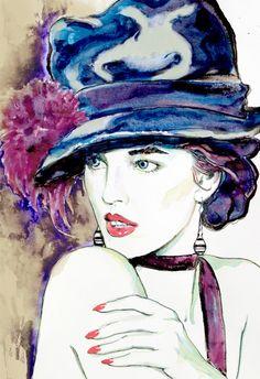 Fashion illustration portrait print modern art print watercolor painting