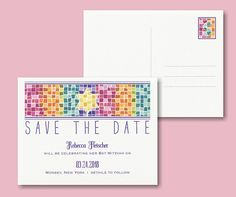 Marvelous Mosaic Save the Date Postcard
