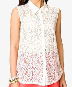 Sleeveless Lace Shirt | FOREVER21 - 2036198537