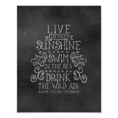 """Summertime: """"Drink the Wild Air"""" Quote by Emerson Posters"""