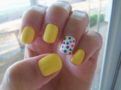 Sally Hansen Xtreme Wear: Mellow Yellow, Purple Potion, White On & Blue Me Away!  Essie: Mod Square Gel Nails At Home, Diy Nails, Manicure Ideas, Summer Manicure Designs, Glitter Nails, Pedicure, Nail Ideas, Bright Summer Nails, Diy Nail Designs