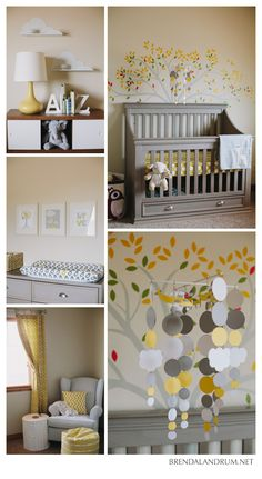 Little boy gray and yellow nursery photographed by Brenda Landrum Photographer .