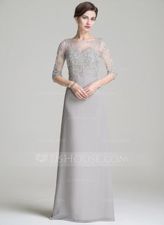 839e4f93b04 ... Neck Floor-Length Beading Appliques Lace Sequins Zipper Up Sleeves  Sleeves No Silver General Plus Chiffon US 4   UK 8   EU 34 Mother of the  Bride Dress