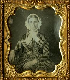 older lady in striped dress and daycap ~ ca. 1846