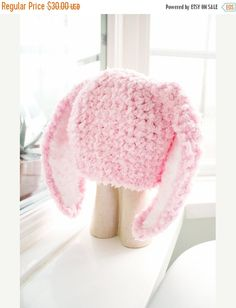 CHRISTMAS SALE 2T to 4T Pink Kids Bunny Hat Childrens Beanie Crochet Toddler Hat - Baby Pink White Bunny Ears Rabbit Hat Photo Prop #baby #children #kids #kidsfashion #girlhat #boyhat #babyboy #babygirl #easter #bunny #bunnyhat #babyhat #hat #babamoon #etsy #photoprop #bunnycostume #eastercostume #etsygifts #onsale #sale #deals #pink