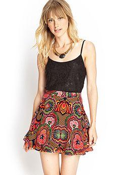 Abstract Print Skater Skirt | FOREVER 21 - 2000104189