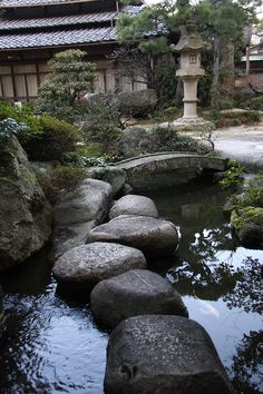 "Japanese garden.  They say ""tobi-ishi"", it means ""jumping stone"""