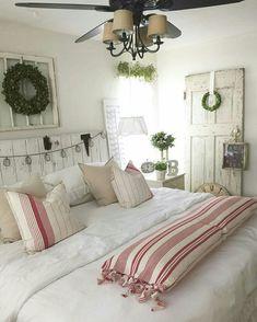 Farmhouse Christmas, Cottage Christmas, Rustic Christmas, Holiday Bedding, Red & White Christmas Theme